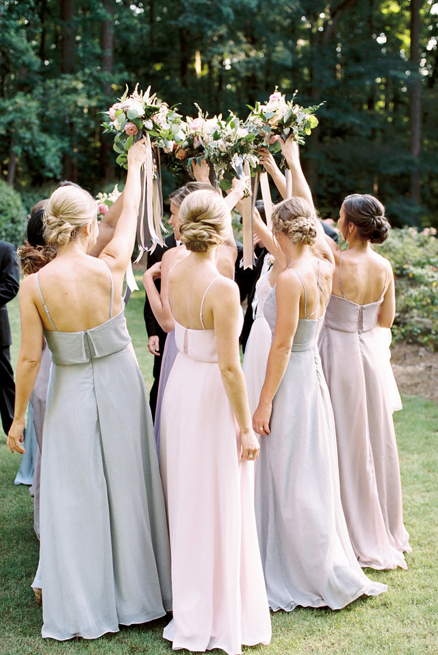 Pastel bridesmaids dress blush blue lilac