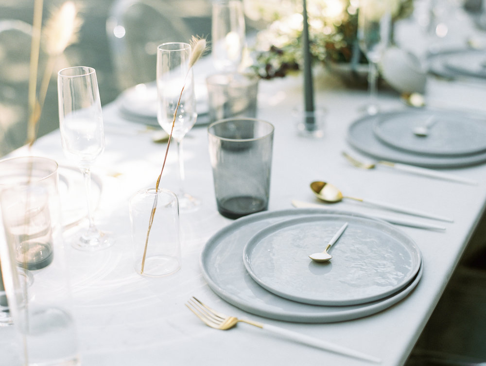Neutral wedding table design grey white