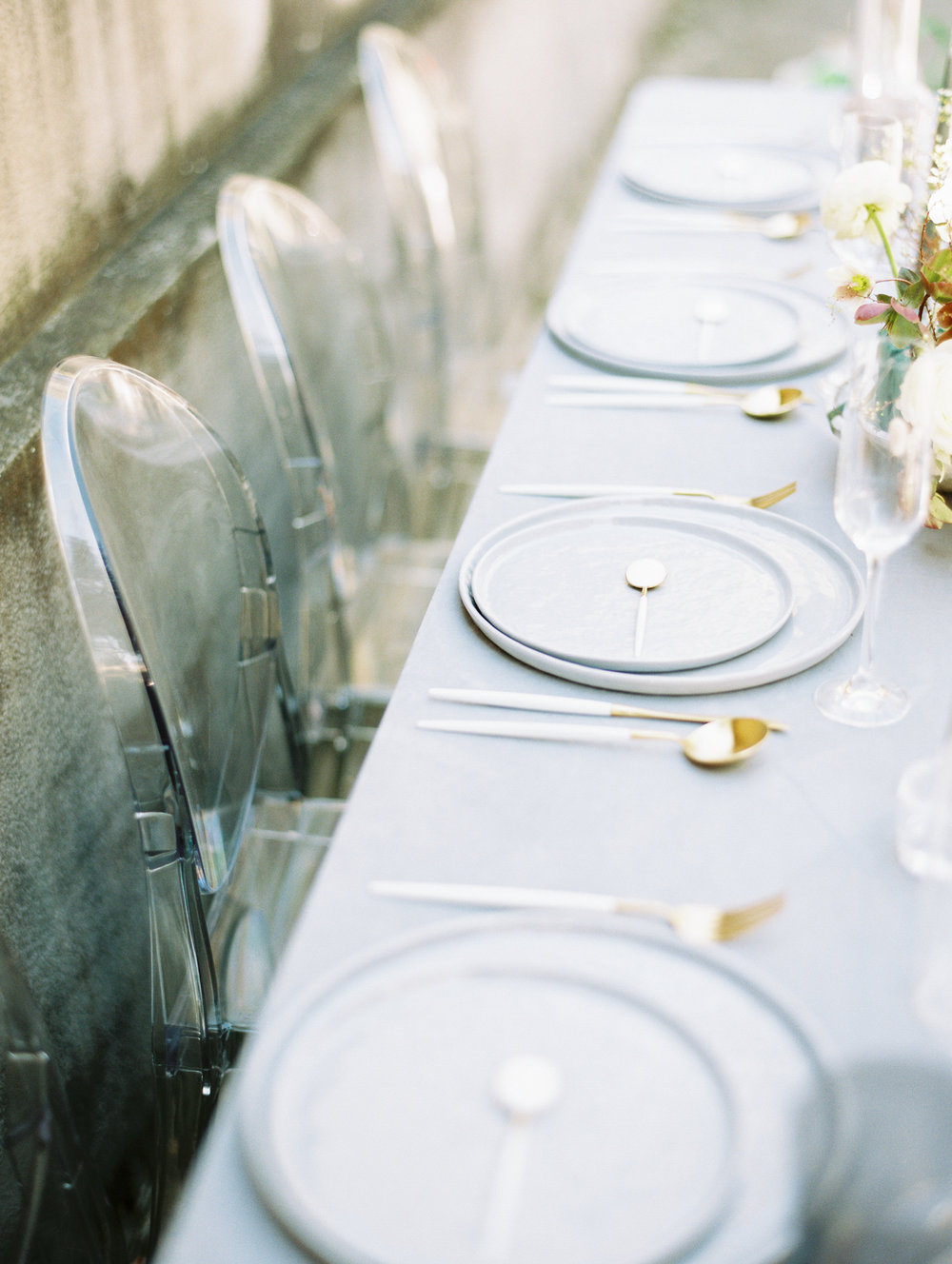 Grey tabletop wedding decor modern
