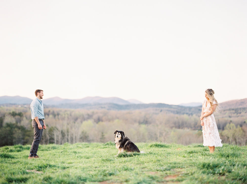 Dog engagement session mountains highlands
