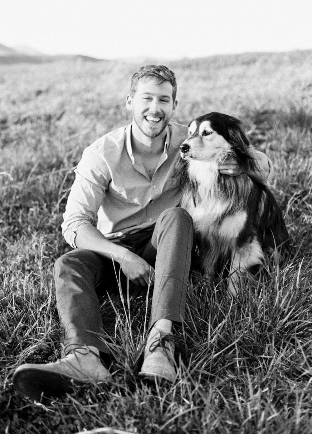 Dog engagement session mountains