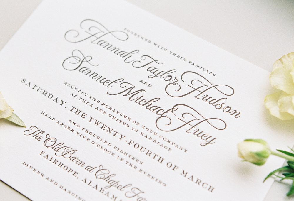 Black and white letterpress wedding invitation