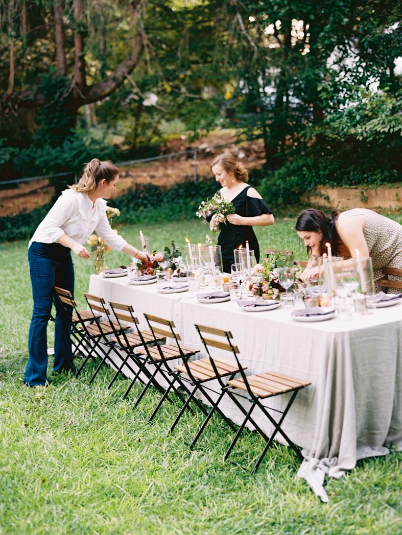 Organic colorful dinner table decor