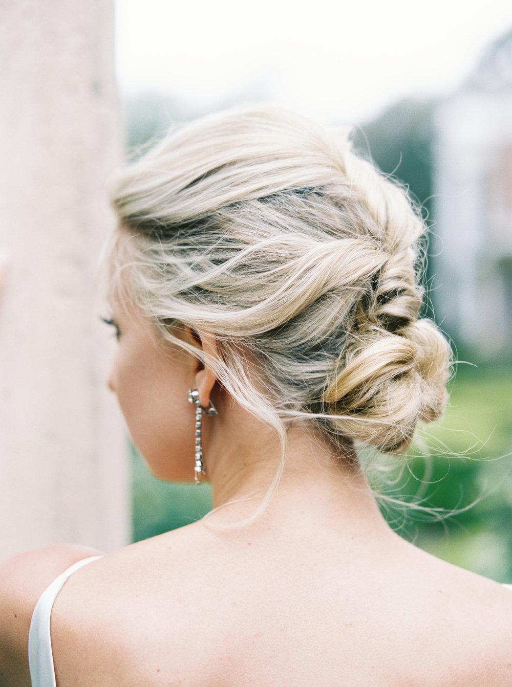 Loose romantic wedding hair up do