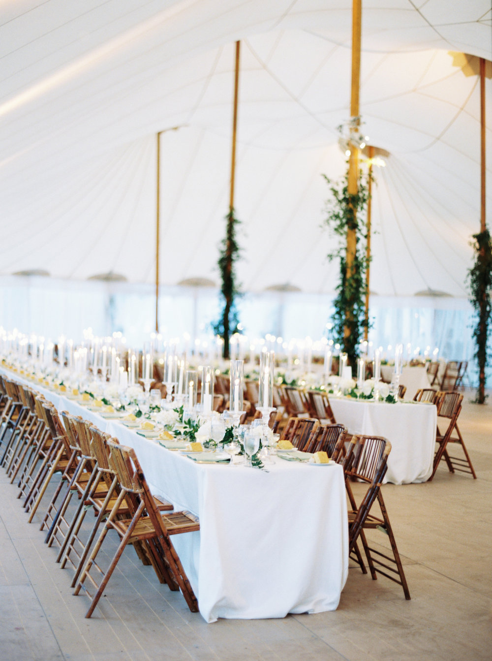 Tented wedding reception white black
