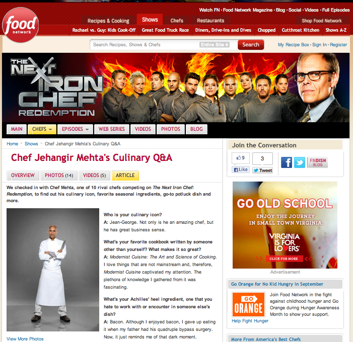 Food Network Online : The Next iron Chef