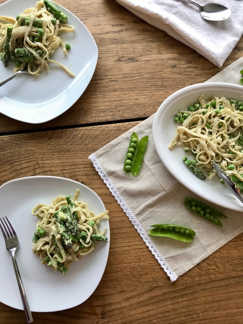 Creamy lemon pasta with Spring veggies.