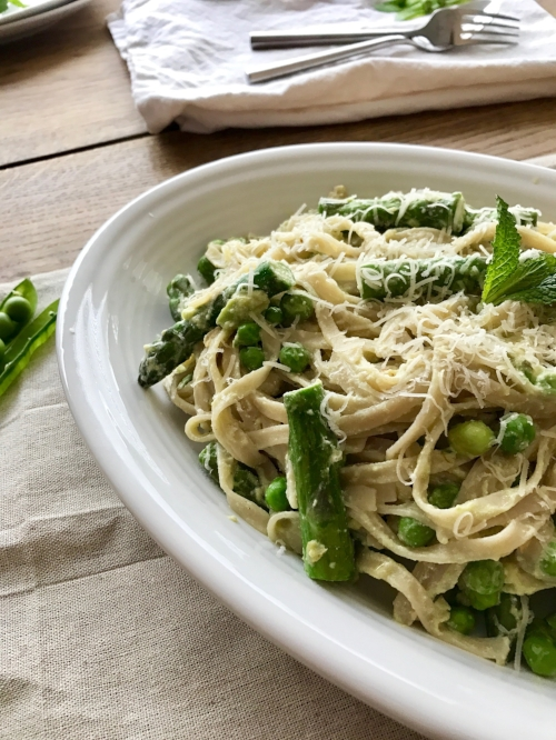 Lemon-ricotta pasta with asparagus, and peas.