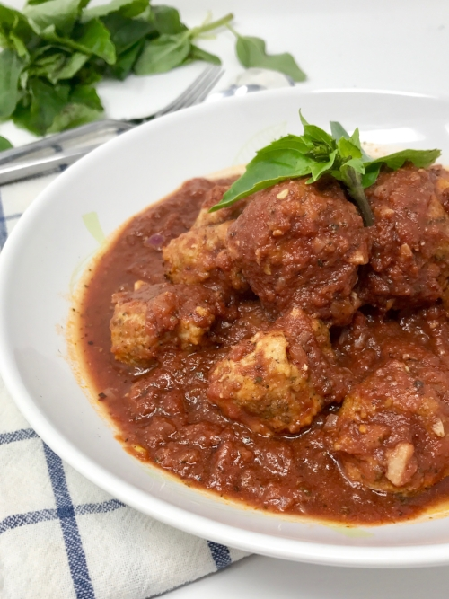 Spicy, comforting, and healthy turkey meatballs in tomato sauce.