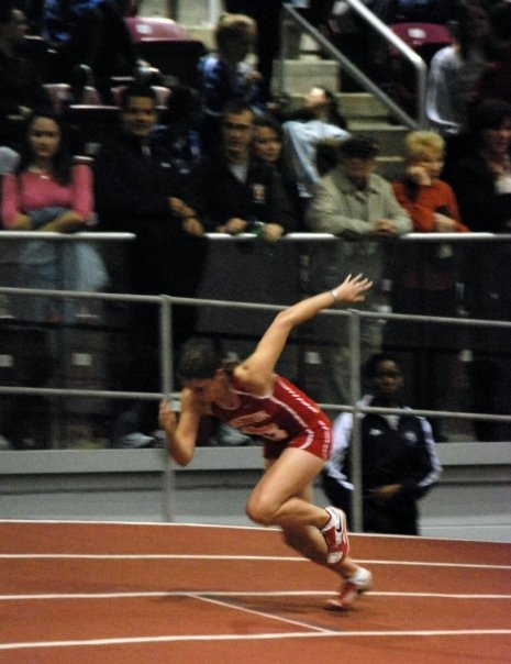 Running a 200m in long jump spikes circa 2009.