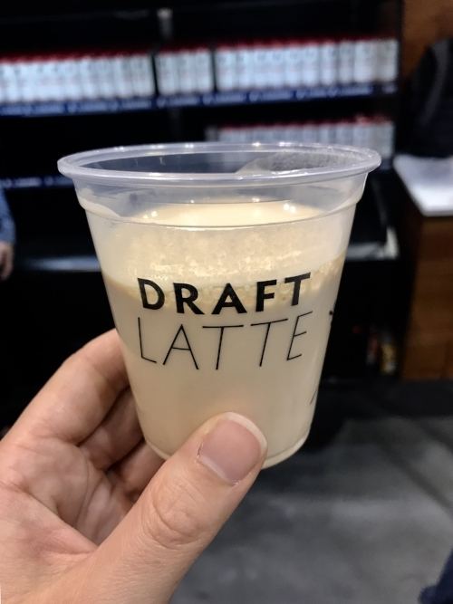 Silky smooth La Colombe draft latte, straight from the tap.