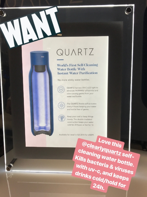 Quartz self-cleaning water bottle.