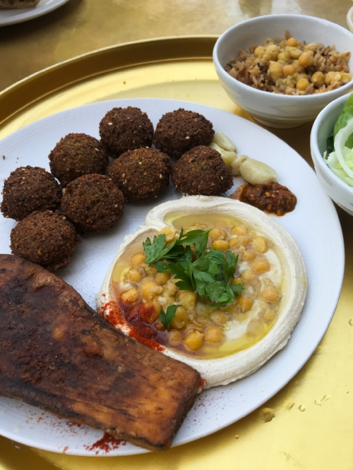 Fast food I can get behind: Falafel plate at Hakosem. Quick, affordable and outrageously good.