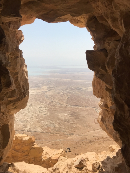 Looking over the Judean Desert and the Dead Sea in Masada.