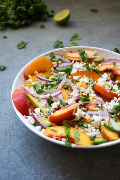 7-ingredient peach, avocado and feta salad.