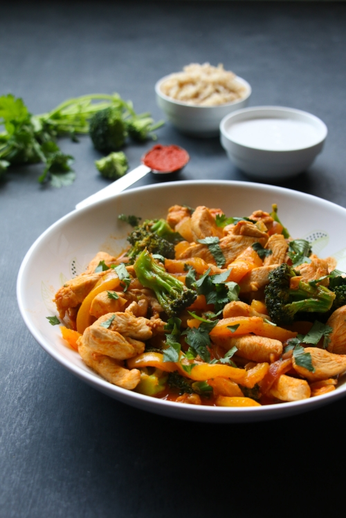 Easy, 20-minute Thai chicken red curry made with broccoli, peppers, fragrant red curry paste and creamy coconut milk.