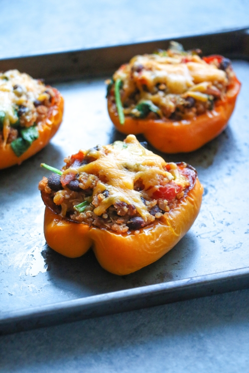 This easy, quinoa and black bean-stuffed pepper recipe is packed with nutrition, and ready in just 30 minutes.