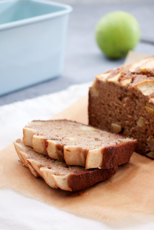 Gluten-free apple and cinnamon banana bread made with Greek yogurt, and coconut oil instead of butter.