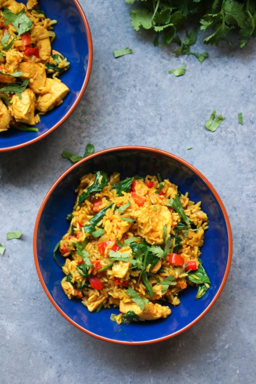 Easy one-pot chicken and turmeric rice. Gluten-free, dairy-free and delicious!