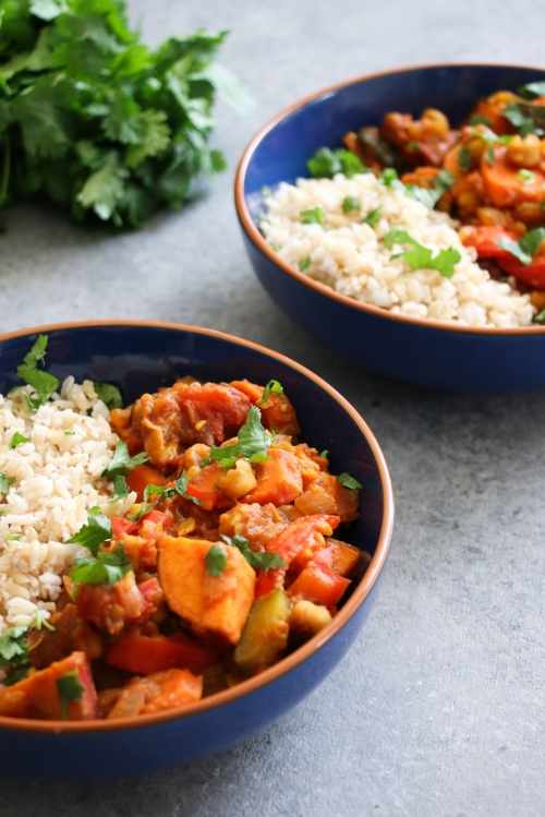 Moroccan vegetable chickpea stew with dried apricots.
