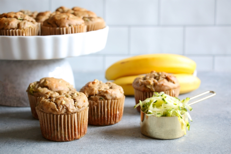 Reduced sugar, gluten-free banana-zucchini muffins. Great for breakfast or as a snack/dessert!