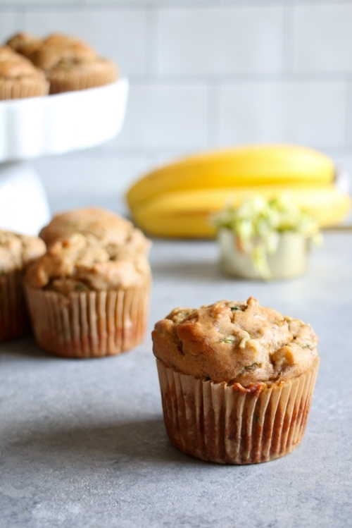 Gluten-free banana and zucchini muffins made with Greek yogurt.