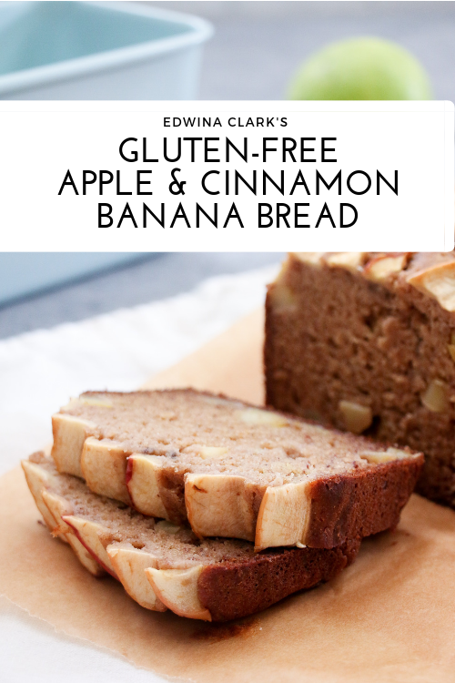 Easy gluten-free, apple and cinnamon banana bread.