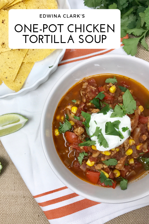 One-pot, easy chicken tortilla soup. Made with mostly pantry staples! GF.