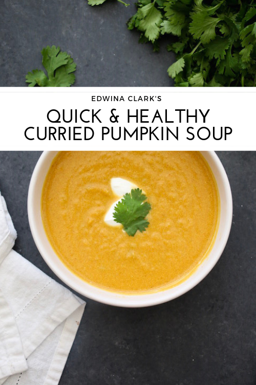 Quick and healthy curried pumpkin soup made with canned pumpkin, Greek yogurt, vegetable broth and an apple.