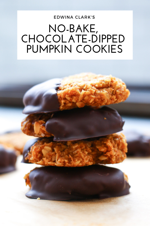 Gluten-free, no-bake pumpkin cookies dipped in chocolate and made with oats, pumpkin puree, peanut butter, and a touch of maple syrup.
