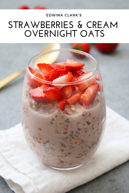 Strawberries and cream overnight oats made with plump fresh strawberries, chia seeds, coconut milk, old-fashioned oats and a drizzle of maple syrup.