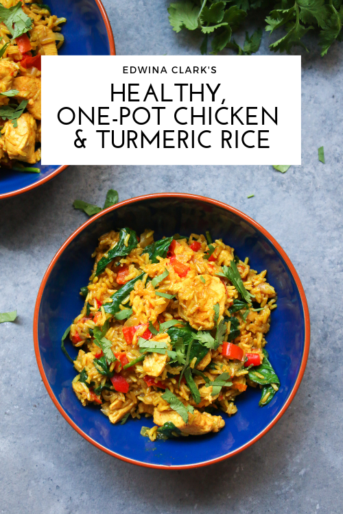 Healthy, one-pot chicken and turmeric rice made with red bell peppers, baby spinach, and aromatic spices. GF, DF.