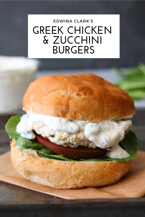 Greek chicken burgers made with feta, zucchini, lemon, rosemary and oregano, and topped with tzatziki.