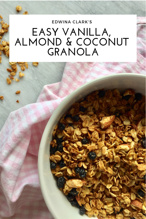 Easy vanilla, almond and coconut granola made with old-fashioned oats, raw or dry roasted almonds, unsweetened dried fruit, shredded coconut and a splash of maple syrup.