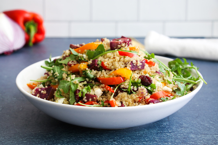 This easy roasted veggies quinoa salad makes a great vegetarian-friendly, gluten-free side or main dish.