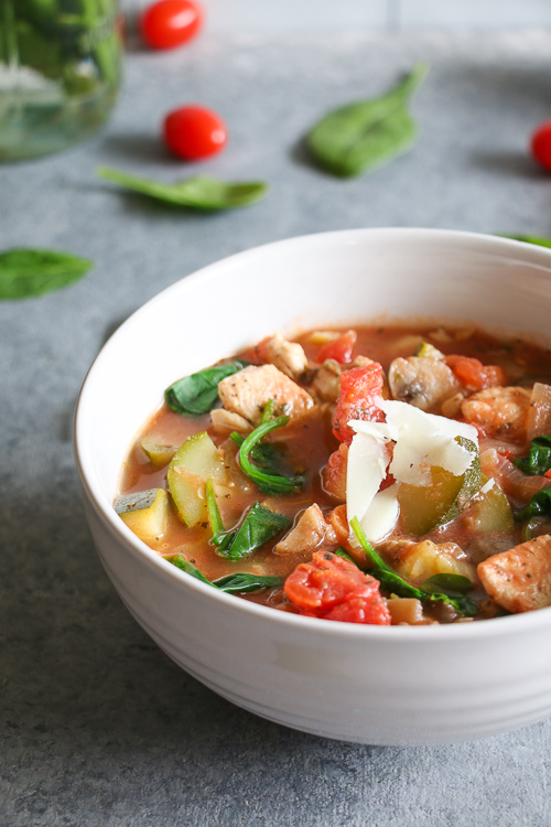 Warming chicken, white bean, and vegetables soup, inspired by the Tuscan countryside. Gluten-free, dairy-free, and packed with vegetables!