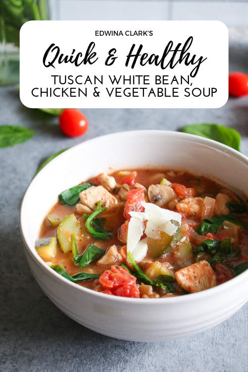 Quick and healthy Tuscan white bean, chicken and veggie soup. GF, DF, and delicious!