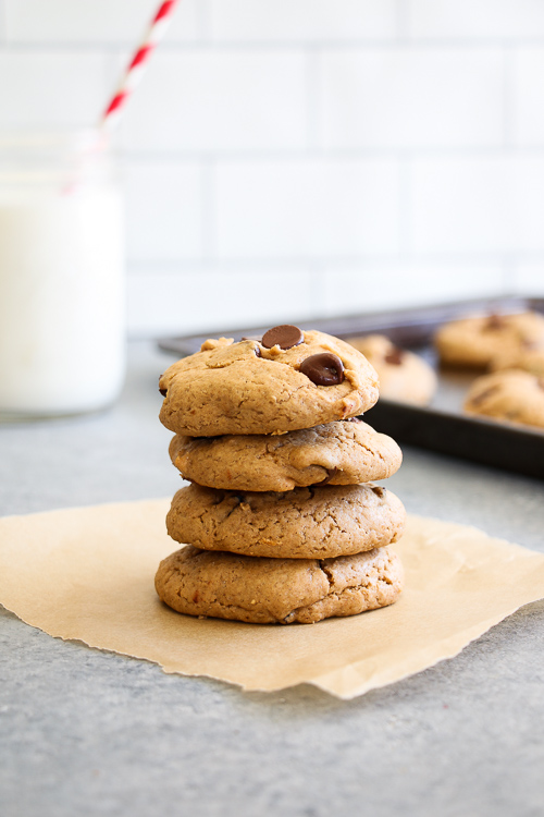 Soft-baked cherry-chocolate cookies made with tahini. GF, DF, and SO easy.
