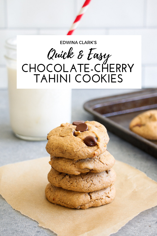 Chocolate-cherry tahini cookies made with tahini instead of butter. Gluten-free, dairy-free and ready in 15 minutes! @edwinalclark.