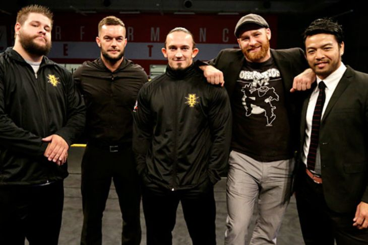 "These guys are known as the ""NXT 5""      Left to right: Kevin Owens, Finn Balor, Adrian Neville, Sami Zayn and Hideo Itami"