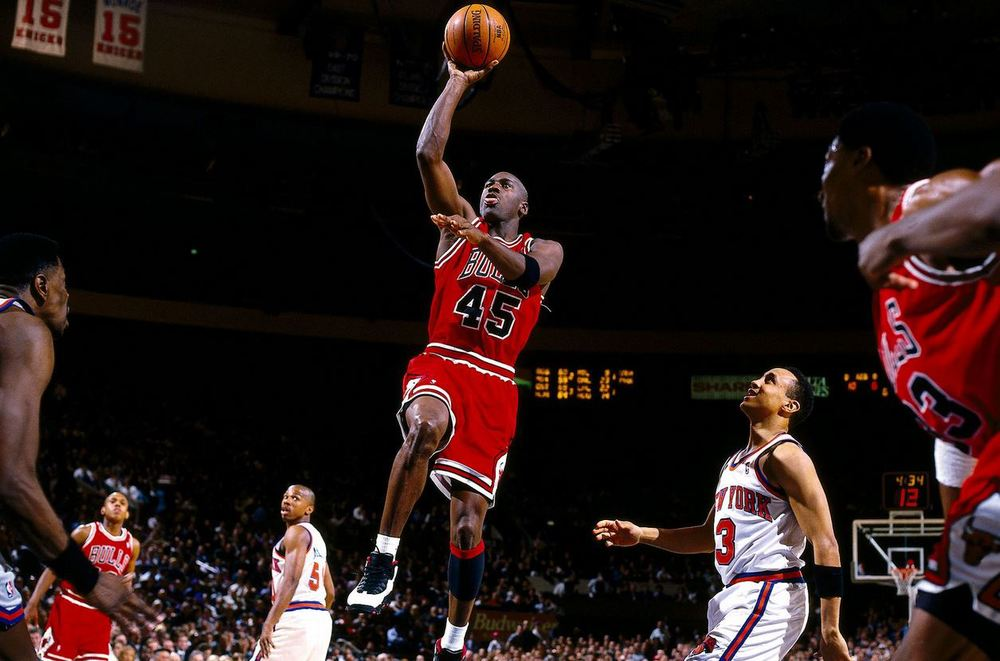Image taken from ESPN.com featuring the Air Jordan 10 PE edition worn by Michael Jordan during his 55-point performance against the New York Knicks in Madison Square Garden, 1995.