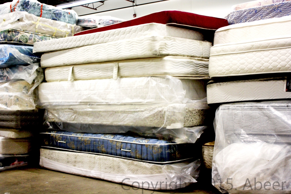 A glimpse of Re-Matt's warehouse - many mattresses to be recycled!