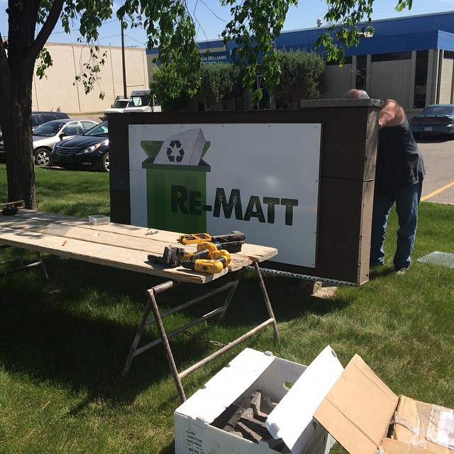 "Our ""before"" picture! The Re-Matt sign is going up! What a beautiful day for some outdoor construction ☀️☀️☀️☀️☀️♻️♻️♻️♻️ #yyc #nofilterneeded #rematt #sunnyday #alberta #green"