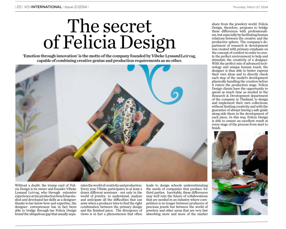 VIORO Daily Basilea. Italian. Editorial: The Secret of Felicia Design.