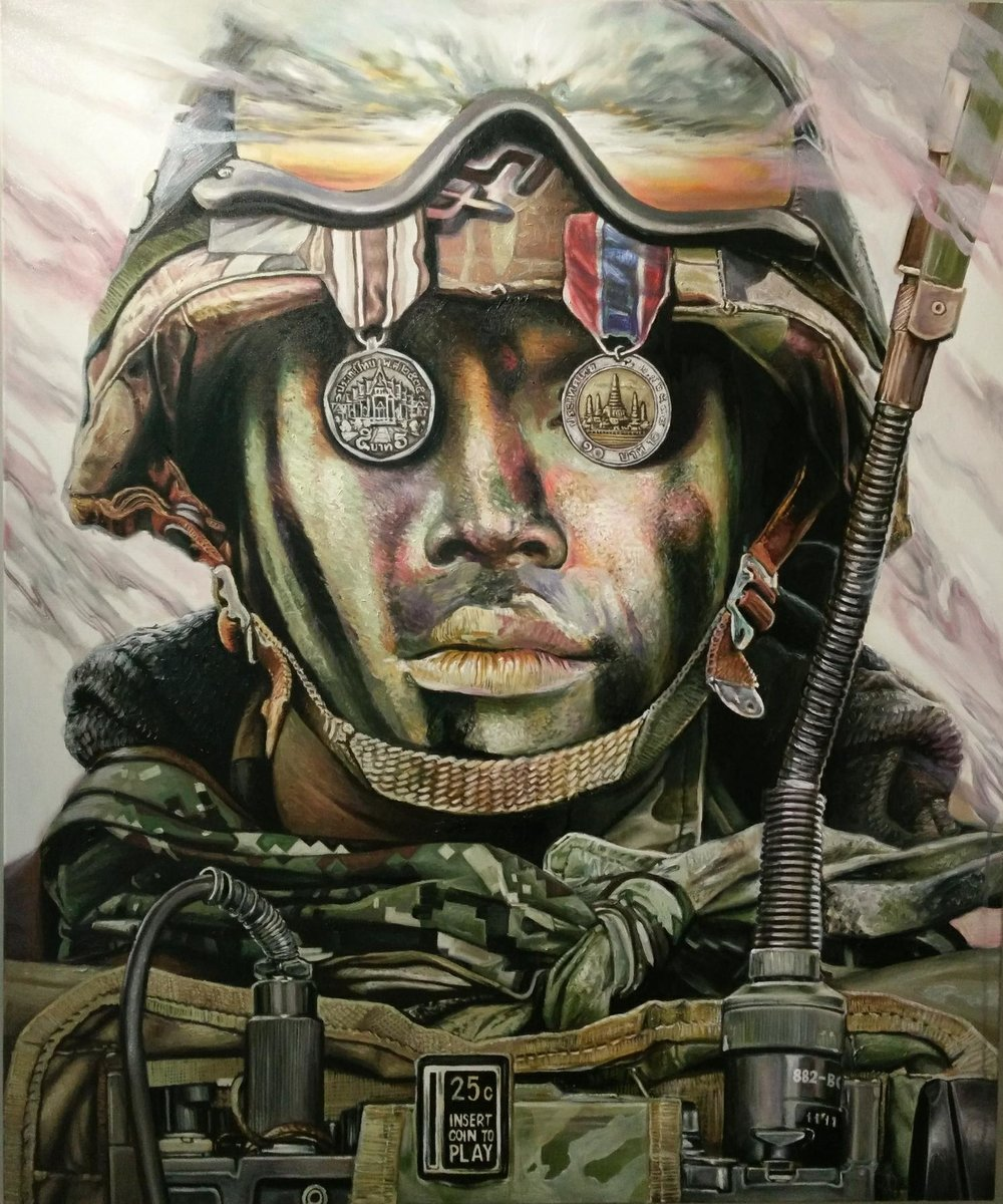 Title: Army Dreamer    Year: 2018    Size: 120 x 100 cm    Technique: Oil on canvas