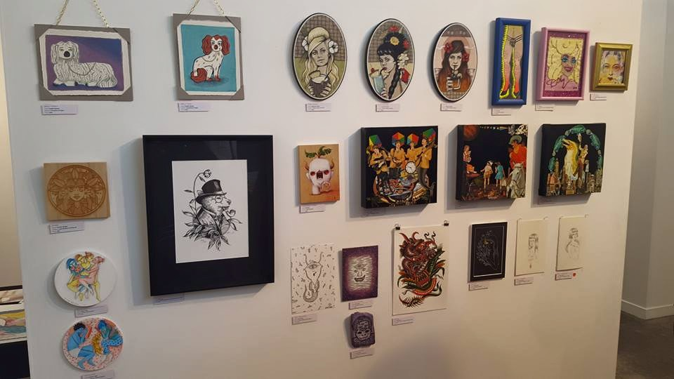 Here they are on the wall amongst some other Tiny Travelling Gallery arts. This photo was by the excellent Emmeline Bailey, check out her stuff here:  http://baileysalchemy.bigcartel.com/
