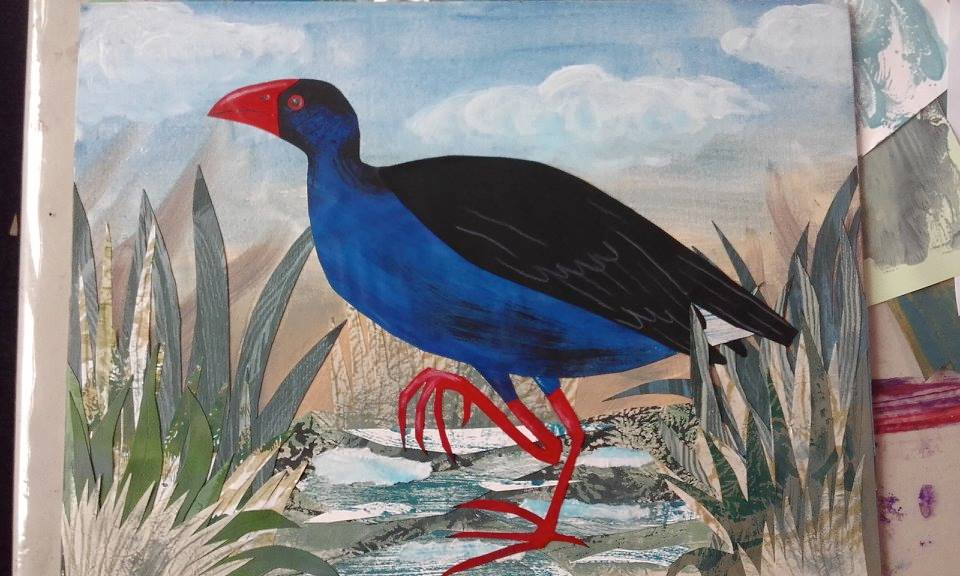 Pukeko - painted and printed paper collage on canvas board. Personal experimentation / teaching example.