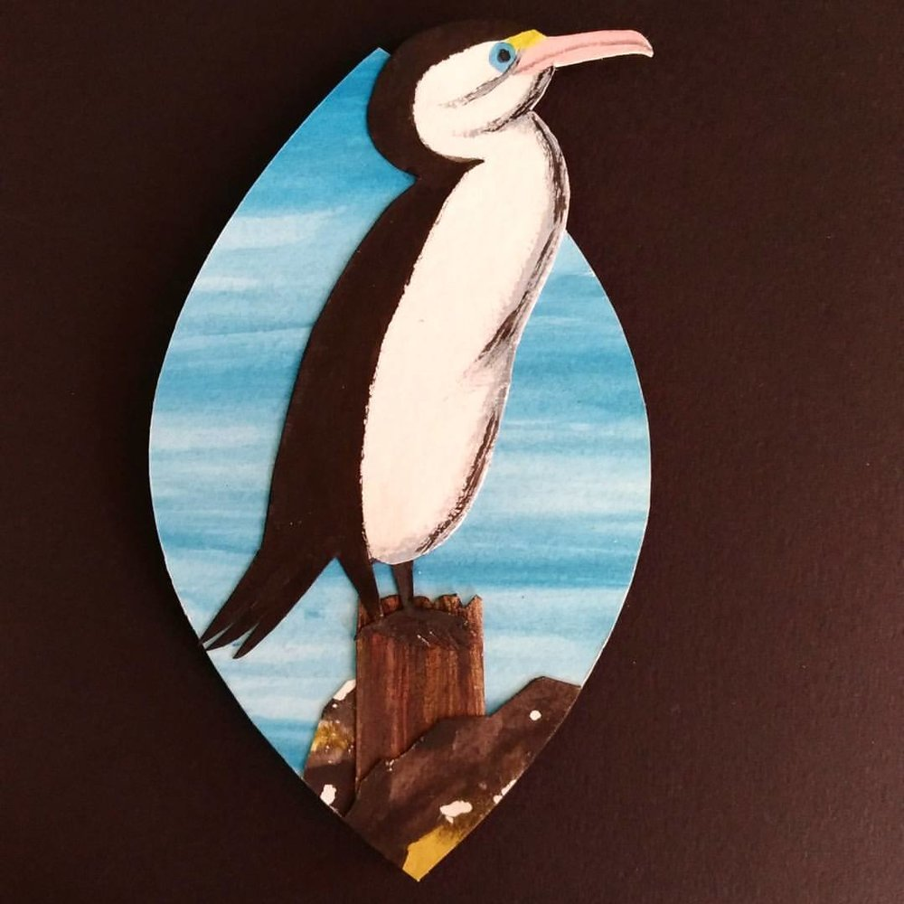 Karuhiruhi/Pied shag -  painted paper collage. Made for Seed Gallery's A New Leaf exhibition.