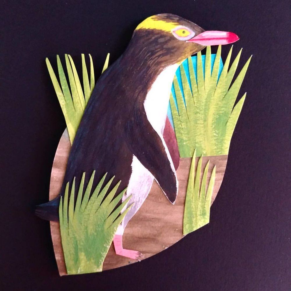Hoiho/Yellow-eyed penguin - painted paper collage. Made for Seed Gallery's A New Leaf exhibition.