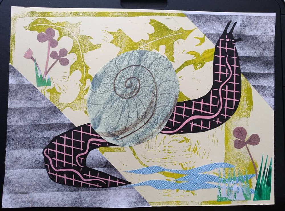 Pink snail - a combination of cut paper collage and woodcut prints.Personal experimentation.
